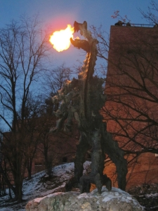 Krakow - Wawel Castle dragon breathes fire