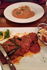 Spinach, Chicken and bacon ravioli (top) and Beef Milanese with tomato/asparagus sauce