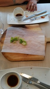 The food was so delicious we forgot to take a picture ... hardly even a crumb left.
