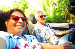 Cruising in the convertible on a sunny fall day.