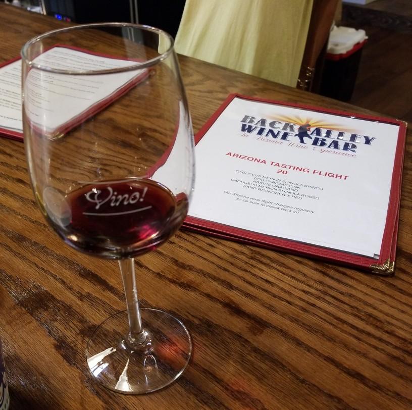 wine glass and menu