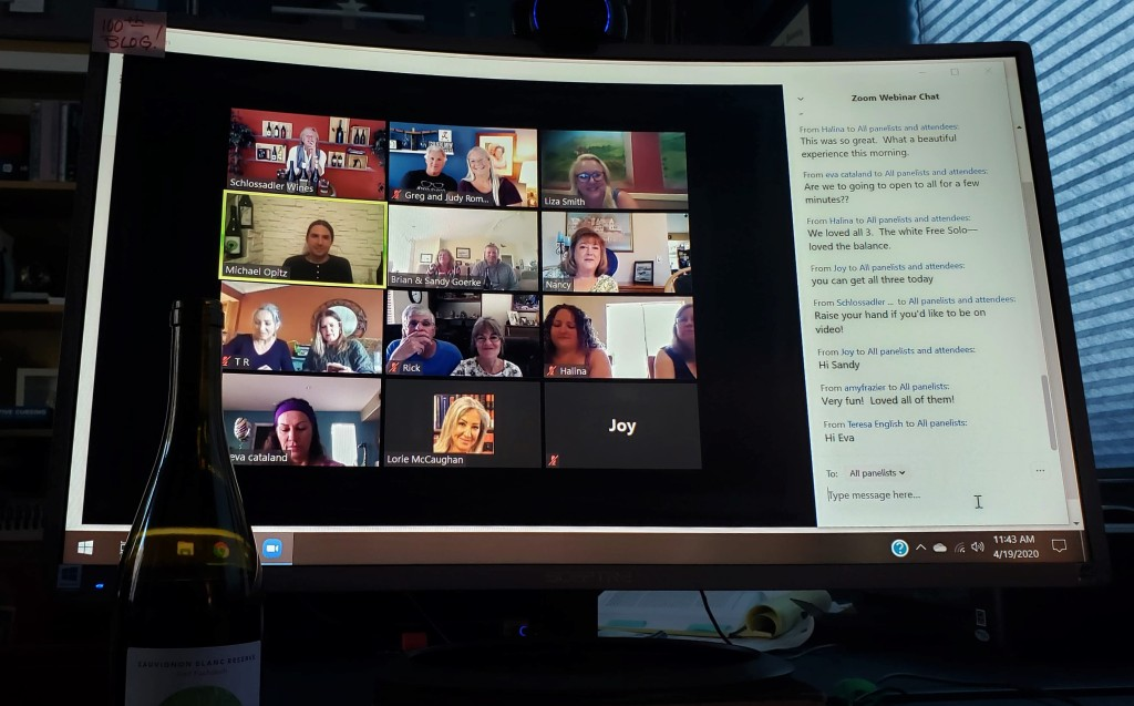 Computer screen depicting participants in a virtual wine tasting.