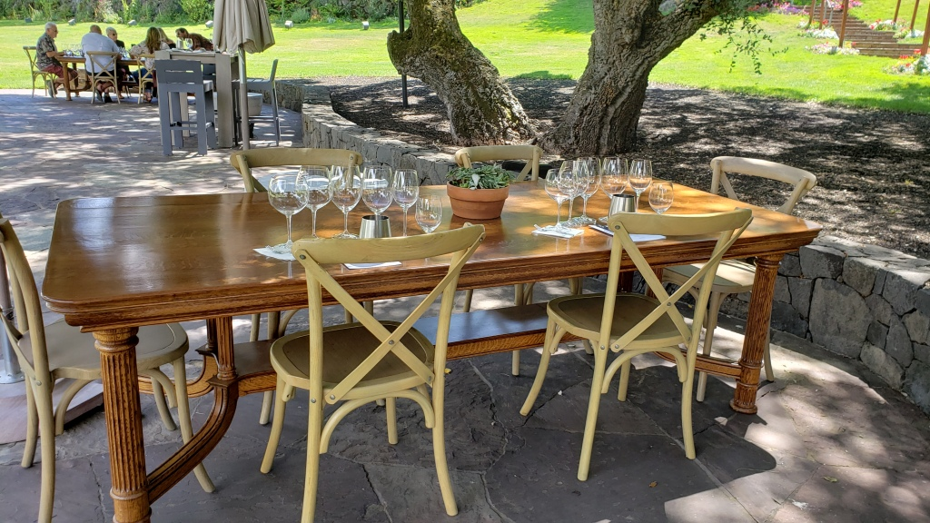 shaded table set with glasses for a wine tasting