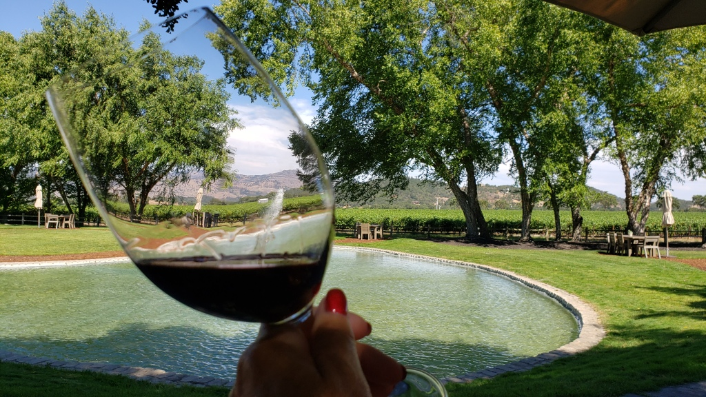 hand holding glass of red wine with pond and trees in the background