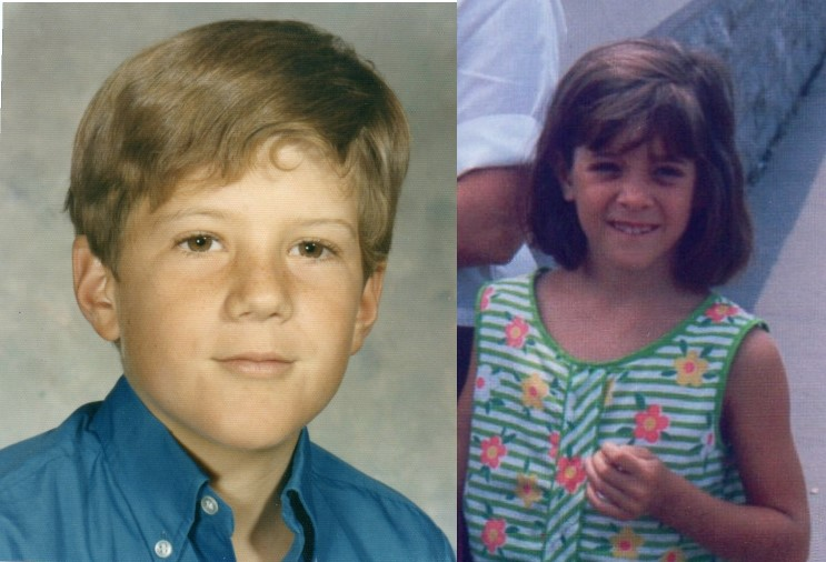 school picture of boy, vacation picture of girl. both around 9 years old