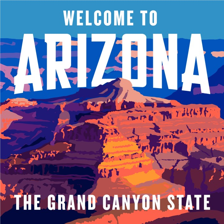 graphic of Grand Canyon on welcome sign