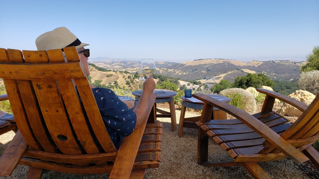 Rear view of man sitting in a chair looking out over valley while holding a wine glass