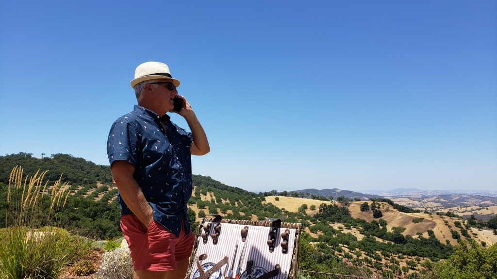 man on phone with expansive view of vineyards behind him