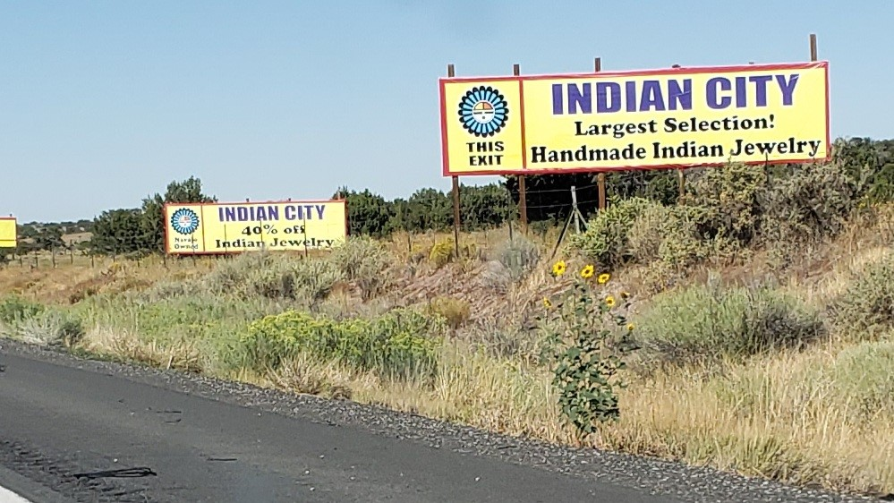 Indian City advertising signs along roadway