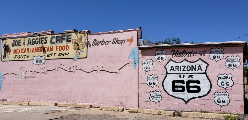 Route 66 map on side of building
