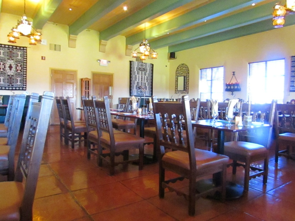 restaurant dining room with light streaming in the windows