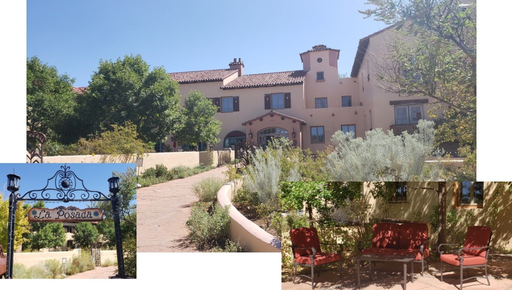 montage of pictures - exterior of historic hotel, shaded patio area and welcome arch