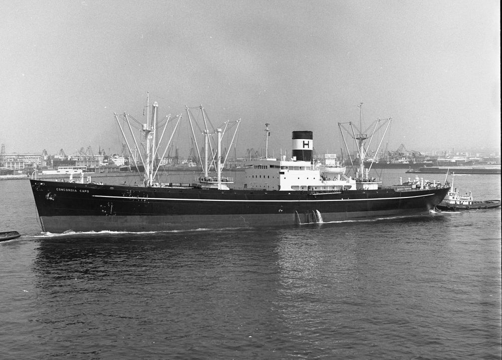 black and white image of freighter SS Concordia Capo