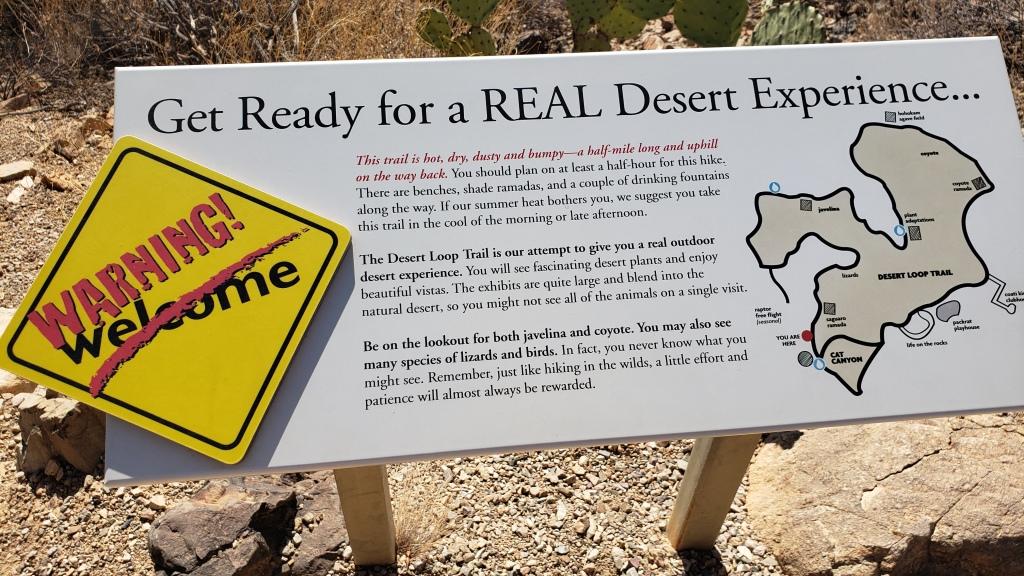 warning sign for walk through desert